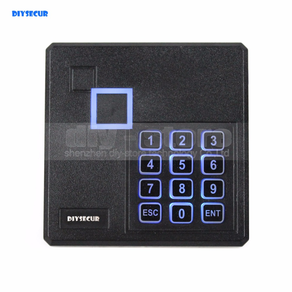 DIYSECUR Black Waterproof 125KHz ID Card Reader Wiegand 26 Access Control Keypad RFID Reader 103A wiegand 26 input