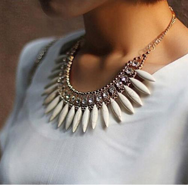 Женская мода Кристалл Подвеска Сеть Choker Коренастый Заявление Нагрудник Ожерелье BOHO