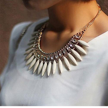 ФОТО fashion women crystal pendant chain choker chunky statement bib necklace boho
