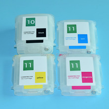 цена на For HP 10 ink cartridge for hp 11 Designjet 100 110 70 printer refill ink cartridge with permanent chip