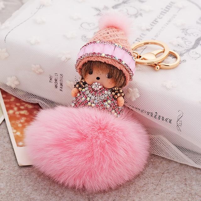 Cute Monchichi Keychain sleutelhanger strass Doll Rabbit Fur Ball Keychain Bag Charm Accessories Fur Pom Pom Key Chain