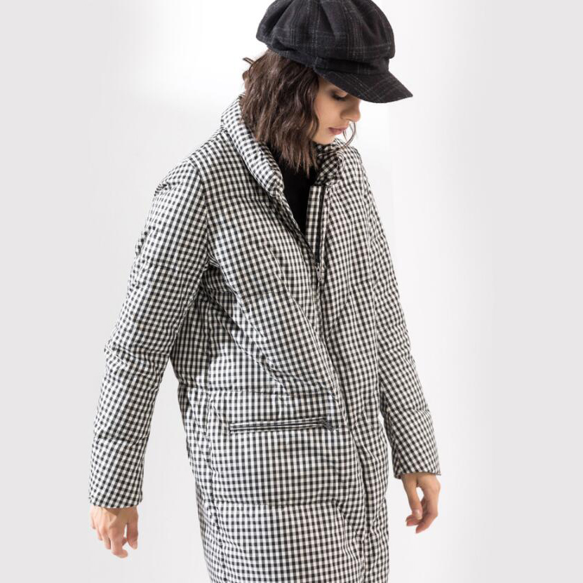 High Fashion Design Houndstooth Winter Thick 90% Grey Duck   Down     Coats   Women Long   Down   Parka 2019 New Arrival Women's   Down   Jacket