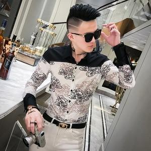 Image 1 - Autumn New Dress Shirt Men Streetwear Patchwork Color Mens Casual Shirts Slim Fit Casual Print Shirts For Men Clothes 2019 3XL M