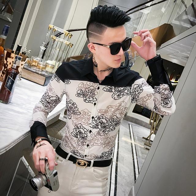 Autumn New Dress Shirt Men Streetwear Patchwork Color Mens Casual Shirts Slim Fit Casual Print Shirts For Men Clothes 2019 3XL M