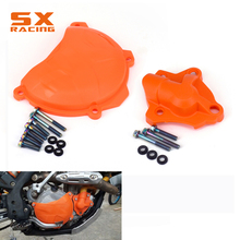 Guard Engine Clutch & Water Pump Protector Cover For KTM SXF EXCF XCF XCFW 250 350 SX-F EXC-F XC-F XCF-W Freeride 350 motorcycle oil pump cover for ktm 250 350 450 sx f xc f 2013 2015 250 xcfw 2014 2016 350 450 500 xcw excf 2008 2016