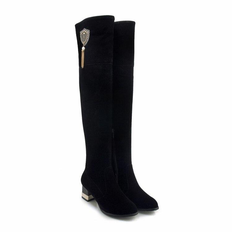 Troupeau Neige Sur Confort Grande Le Hiver Taille Cuir {zorssar} 33 Chaussures De Talons Carrés 2019 En Genou Noir 43 Femmes Bottes Chaud BZWqx54Sxw