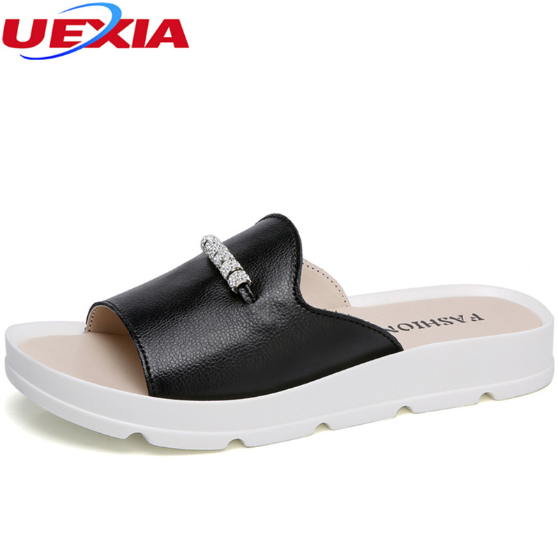 UEXIA 2018 New Summer Woman Beach Flip Flops Shoes Casual Non-slide Ladies Slippers Platform Thick Heels Slides Flats Women Whit 6cm high heels women slides ladies slippers sandals flips flops 2018 summer beach platform shoes woman fashion comfortable flats page 4