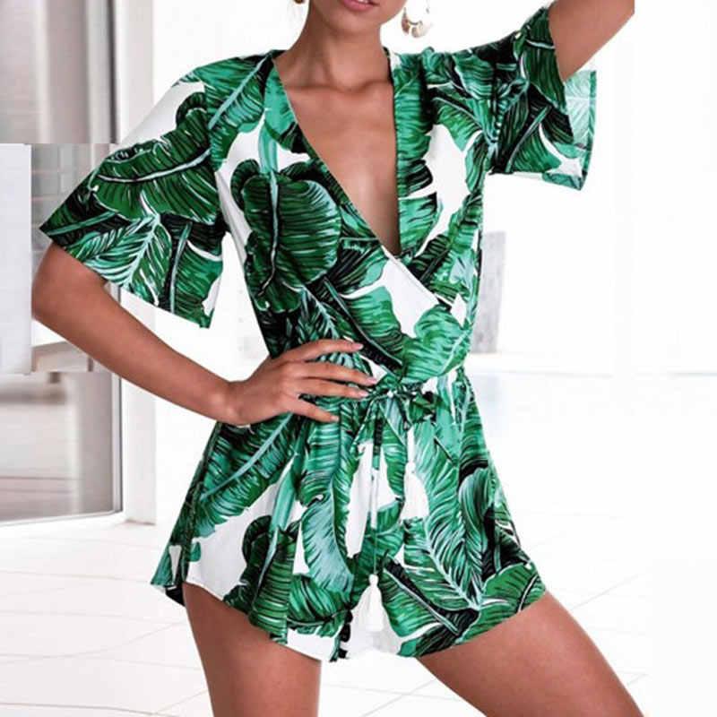 d9c8f5fe8c6 Liva girl Summer 2018 Women Rompers Banana Leaf Print Beach Jumpsuit Short  Green Jumpsuit Female Short