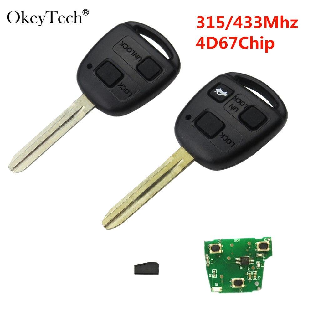 Okeytech 315/433MHz Chip de 4D67 2 ou 3 Botões de Carro Remoto Chave Para Toyota Camry Corolla Prado Auto controle remoto CAMRY 304 60030