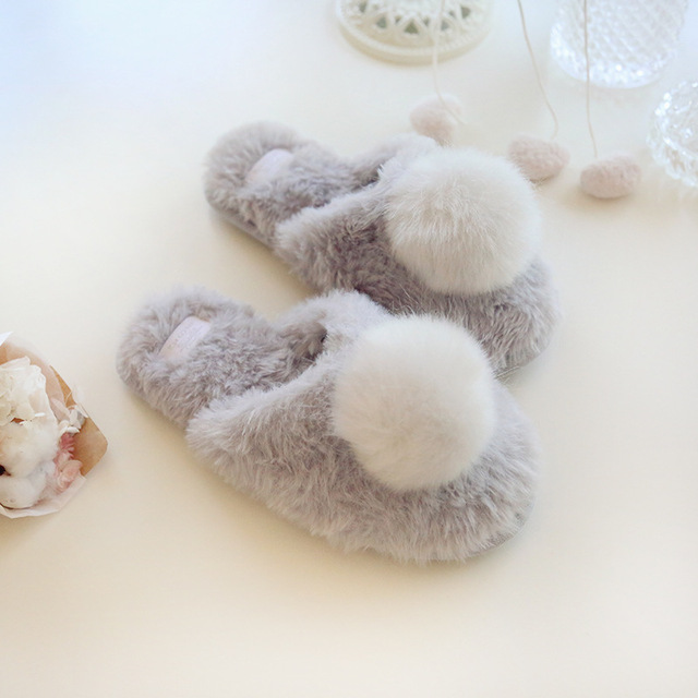Новый серый мех мяч теплые домашние тапочки женщин прекрасный хлопок женская обувь