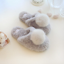new grey fur ball warm home women slippers  lovely cotton womens shoes