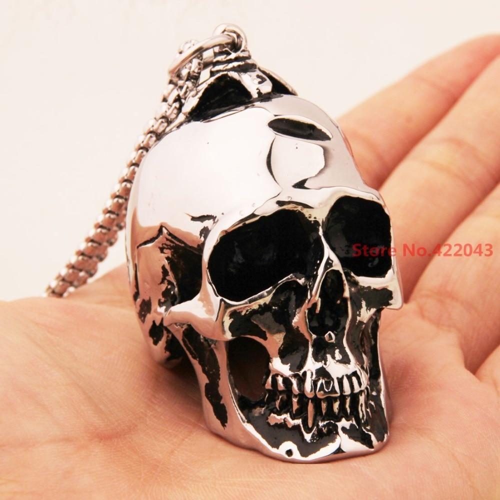Heavy!  Fashion Punk Silver  316L Stainless Steel Skull Heads Men's Biker 43*36mm Pendant Necklace Hiphop Jewellery Gift