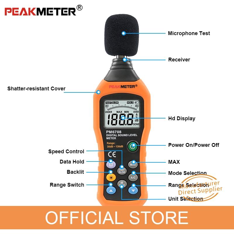 """Oficialus """"PEAKMETER PM6708 LCD"""" skaitmeninio garso decibelų - Matavimo prietaisai - Nuotrauka 4"""