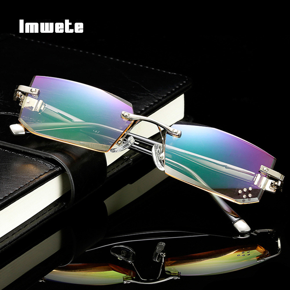 Imwete Rimless Reading Glasses Men Women Classic Diamond Frameless Sunglasses Hyperopia Presbyopic Eyewear HD Lens Shades