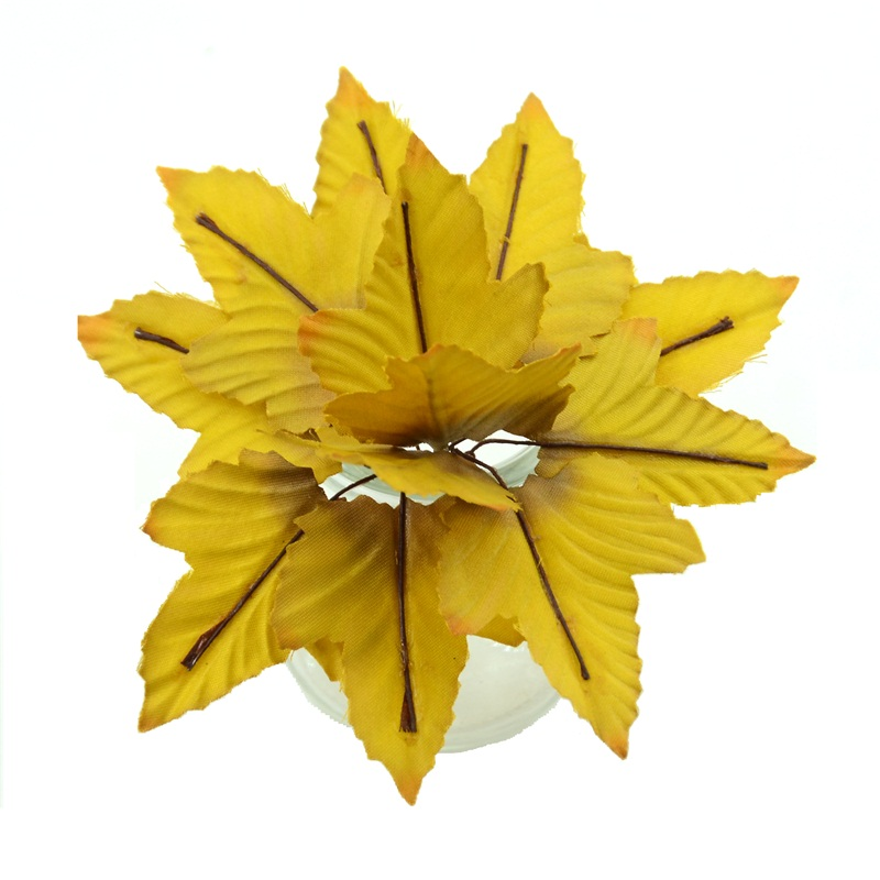 Party Holiday Artificial leaf Christmas decor Scrapbook DIY Silk Leaves Ribbon