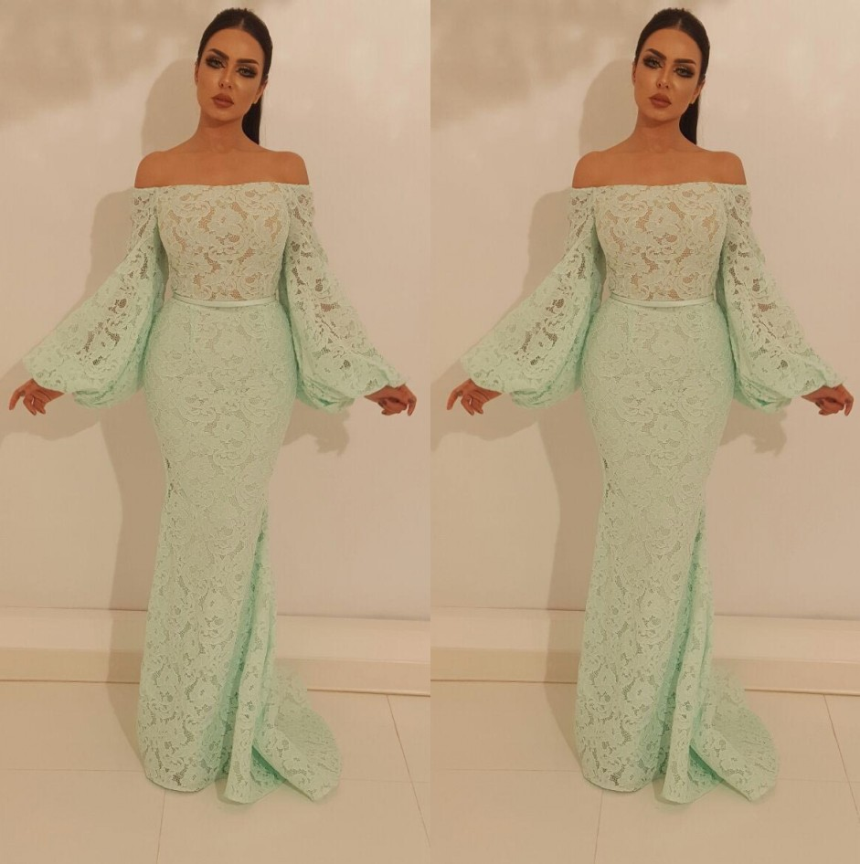Mint   Evening     Dresses   2019 Off Shoulder Long Sleeves Lace Mermaid Prom   Dress   Islamic Dubai Saudi Arabic Long Elegant   Evening   Gown