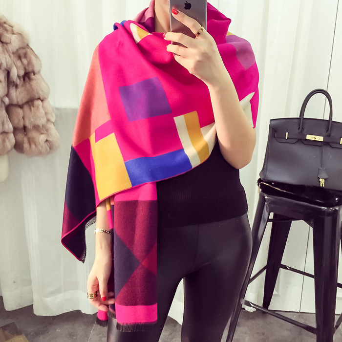 Fashion Plaid Scarf luxury brand Cashmere Scarf women poncho Double Sided Long wool scarves winter warm Pashmina bufandas cape