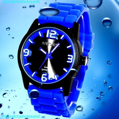 FW848E Black Dial Water Resist Silicone Blue Band 100% Tested 3ATM Fashion Watch