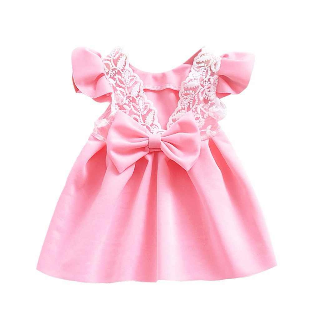 0647fb30c2f1 Detail Feedback Questions about Kid Girls Princess Dress Newborn Baby Girls  Dresses Cute Bow Tie Lace Back Petal Sleeve Kid Girl Clothes Vestido Dress  on ...