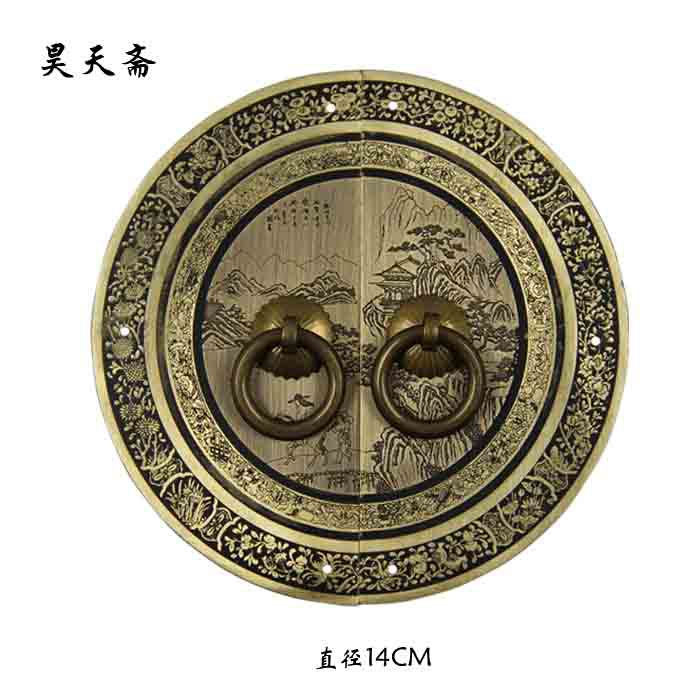 [Haotian vegetarian] Chinese furniture of Ming and Qing antique bronze copper door handle copper classical Chinese landscape sec [haotian vegetarian] chinese antique ming and qing furniture copper fittings copper door copper handle 18cm black