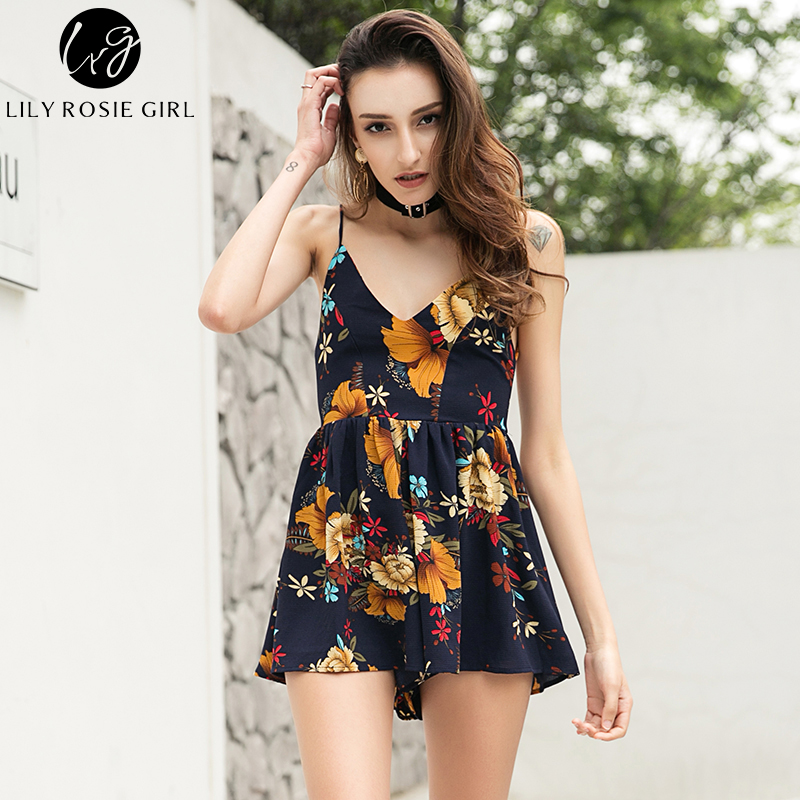 Off Shoulder Boho Deep V Neck Women Playsuits Sexy Party Backless Strap Summer Beach Rompers Jumpsuits