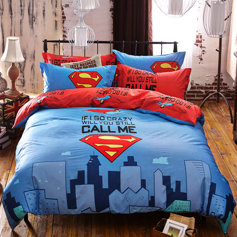 100 cotton 34pcs superman cartoon boygirl kids bedding set bed linen 3d bedding sets duvet cover bed sheet pillowcases queen free shipping worldwide