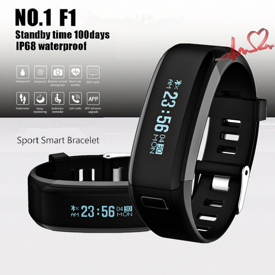 Original NO 1 F1 Smartband Smart Wristbands Sport Band Intelligent Bracelet Calls Reminder Heart Rate Monitor