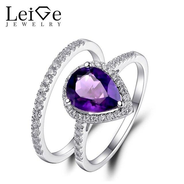 Leige Jewelry Pear Cut Amethyst Ring Natural Gemstone Wedding Rings
