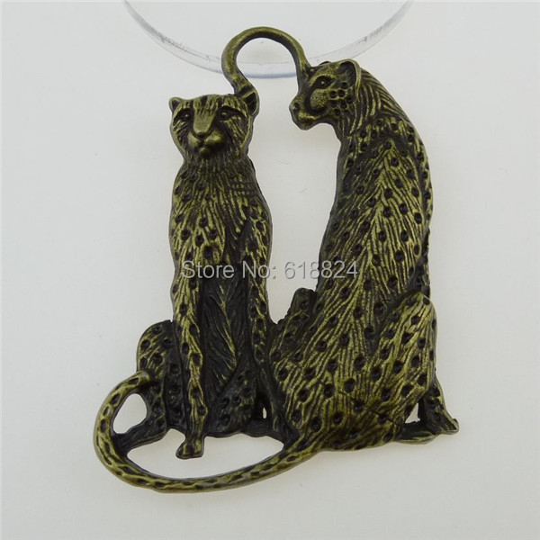 (4 pieces/lot) 12828 Vintage Antique Bronze Tone Alloy Animal Love Leopard Family Pendant - jewelry style store