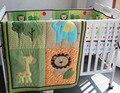 3 pc berço infantil quarto jogo de quarto do berçário do bebê dos miúdos verde animal berço bedding bedding set para bebê recém-nascido menino