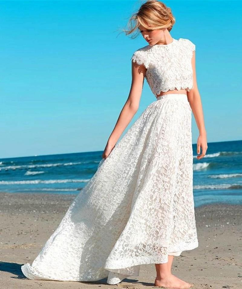 2015 Simple but Elegant Jewel Short Sleeve Two Pieces Lace Short ...