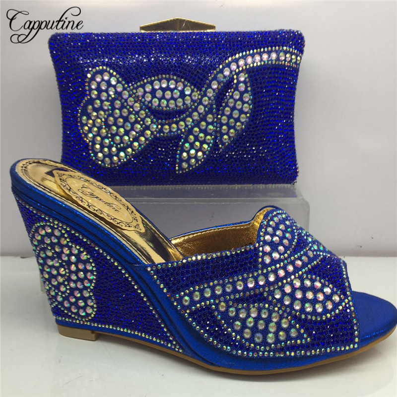 Capputine African Desgin Full Rhinestone Shoes And Purse Set New Italian Woman High Heels Shoes And Bags To Match Set BL185C