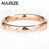AULEEZE Classic 18K Gold Real Diamond Wedding Anniversary Band 750 Rose Gold 0.2cttw Diamond Rings For Women Ladies Ring Jewelry