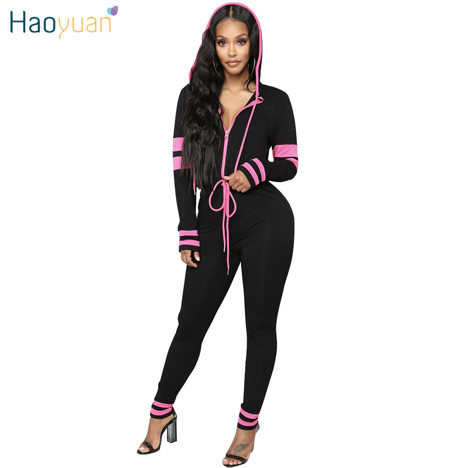 36cfc3d45e44 HAOYUAN Casual Hooded Longs Sleeve Bodycon Jumpsuit Autumn Overalls Sexy  Full Bodysuit One Piece Bandage Rompers