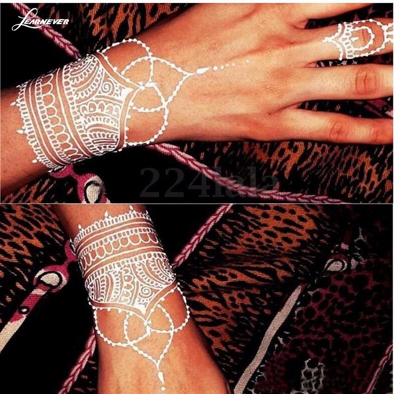 Indian White Henna Paste Women Temporary Natural Henna Tattoo Cone