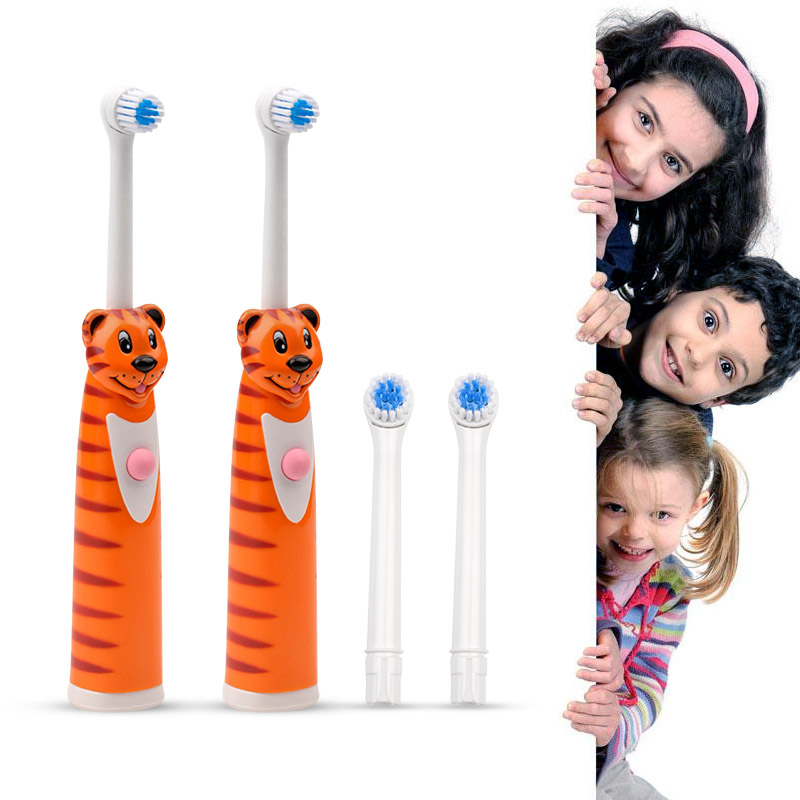 2 Pcs Children Cartoon Electric Toothbrush Sets Wholesale Oral Hygiene Oral Care Massage Electronic Teeth Brush Rotation Clean ultra soft children kids cartoon toothbrush dental health massage 1 replaceable head outdoor travel silicone retractable folding