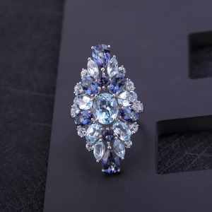 Image 2 - Mücevher bale çok renkli doğal Sky Blue Topaz mistik kuvars kokteyl yüzük kadınlar için 925 ayar gümüş taş yüzük takı