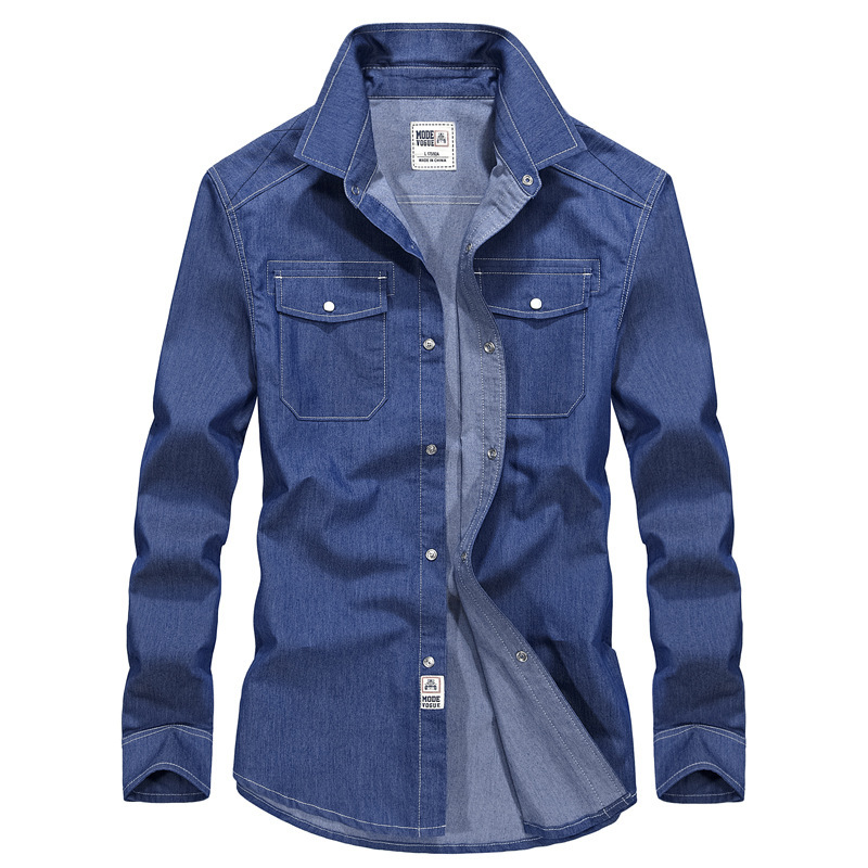 New Brand Spring Shirts Denim Shirt Men Shirt Long Sleeve Turn down Collar Jeans Shirt Cotton Breathable Plus Size S 3XL-in Casual Shirts from Men's Clothing    1