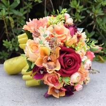 Burgundy Rose Bridal Bouquet, Silk Blush Vintage Wedding flowers Rustic  Chic bouquet Bride Bridesmaid mariage