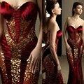 Rami Salamoun Evening Dresses 2017 Red Sweetheart Gold Sequins Long Dress Backless Mermaid Floor Length Prom Party Dress