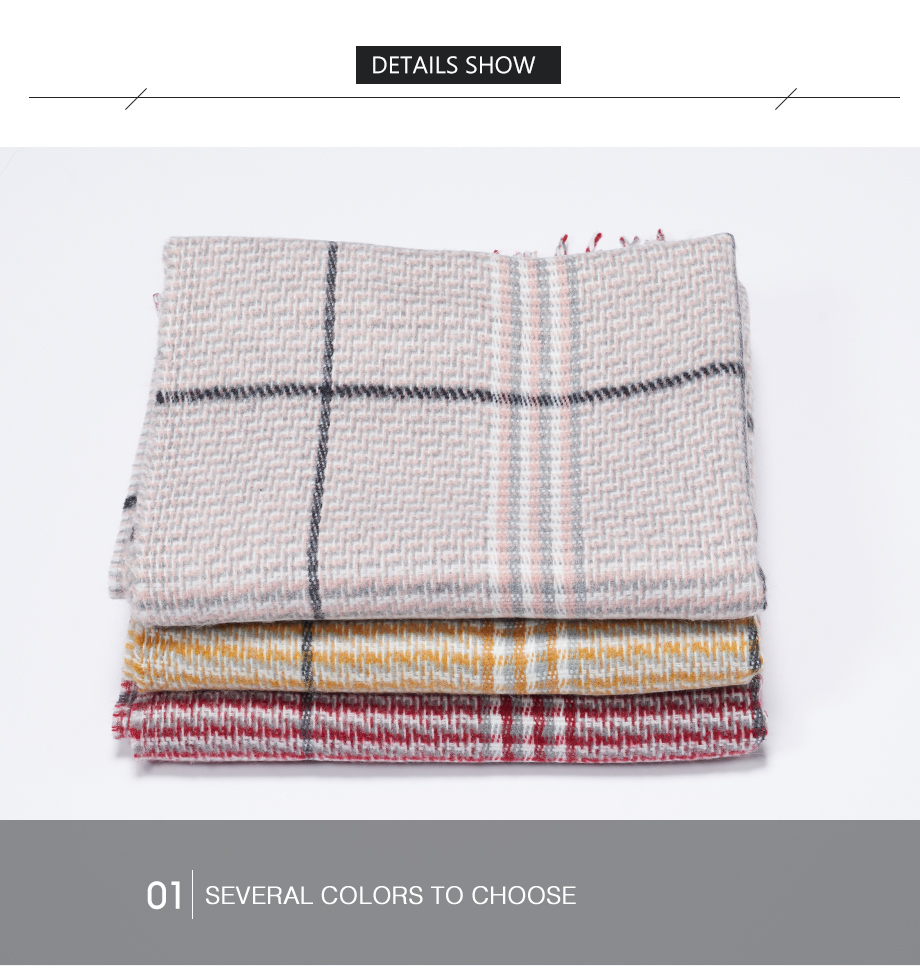 2019 New Winter Autumn Wool Knitted Women Scarf Plaid Warm Cashmere Scarves Shawls Luxury Brand Neck Lady Wrap High Quality (14)