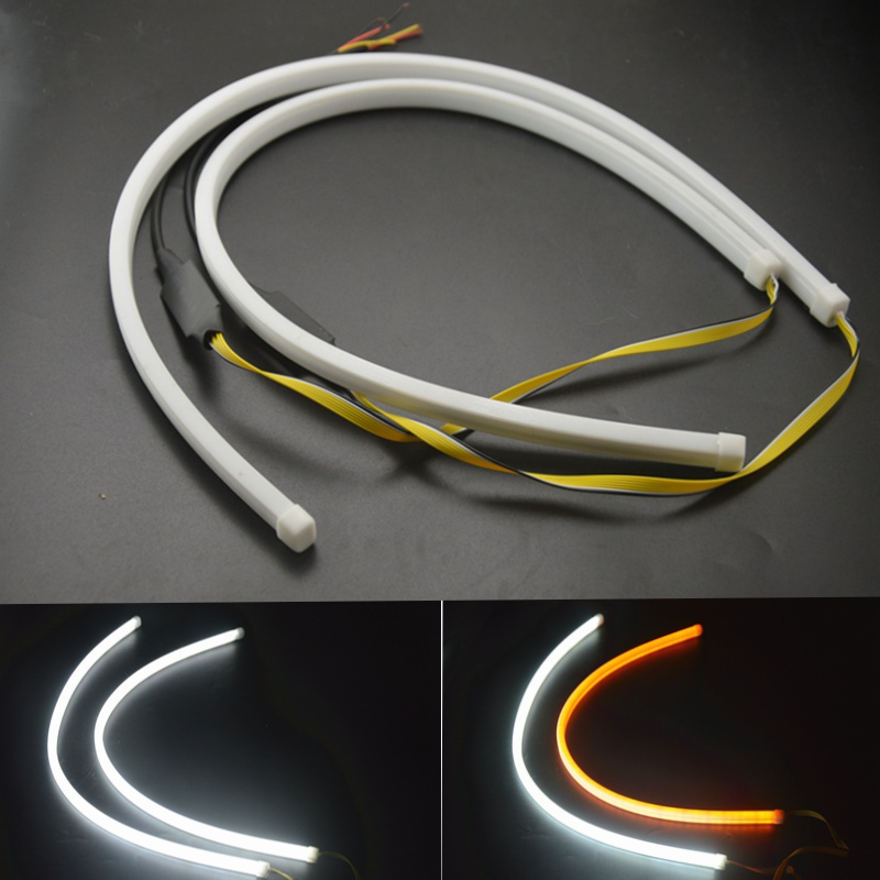 цена на car styling 2pcs 60cm Car Auto Amber White Sequential Flow Strip LED Flexible DRL Headlight Turn Signal Switchback Light Lamp