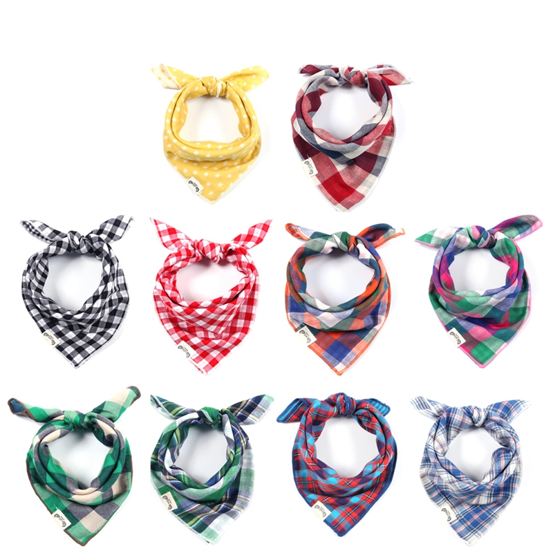 Classic Plaid Baby Bibs Multifunction Infant Bandana Bibs Sling Neckerchief-P101