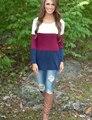 Alta Qualidade Mulheres Tops 2017 Outono Mulheres Camisas Casual Manga Comprida Camisas Patchwork O Pescoço T-shirt Plus Size blusas feminino
