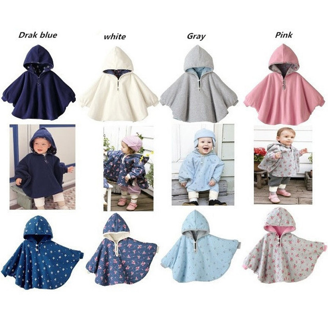 2016  Fleece Combi Baby Coat Babe Cloak Two-sided Outwear Floral Baby Poncho Cape Infant Baby Coat Christmas Costume Gift