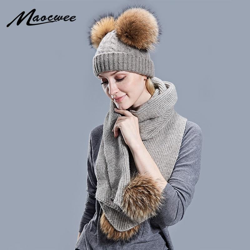 Womens Winter Knitted Hat Scarf Set Rhinestones Flower Design Woolen Warm Beanie