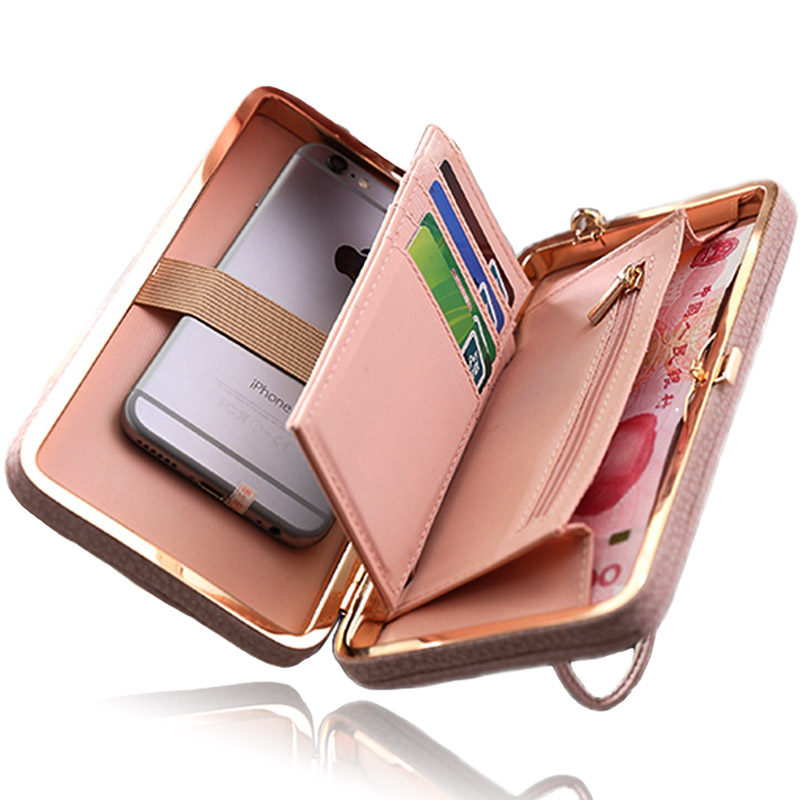 Women Wallet Phone Bag Case for <font><b>iPhone</b></font> 7 6 5 4 s 6s 5s 4s Plus Cover for Samsung Galaxy S8 S7 S6 Edge S5 J3 J5 A3 A5 2017 2016