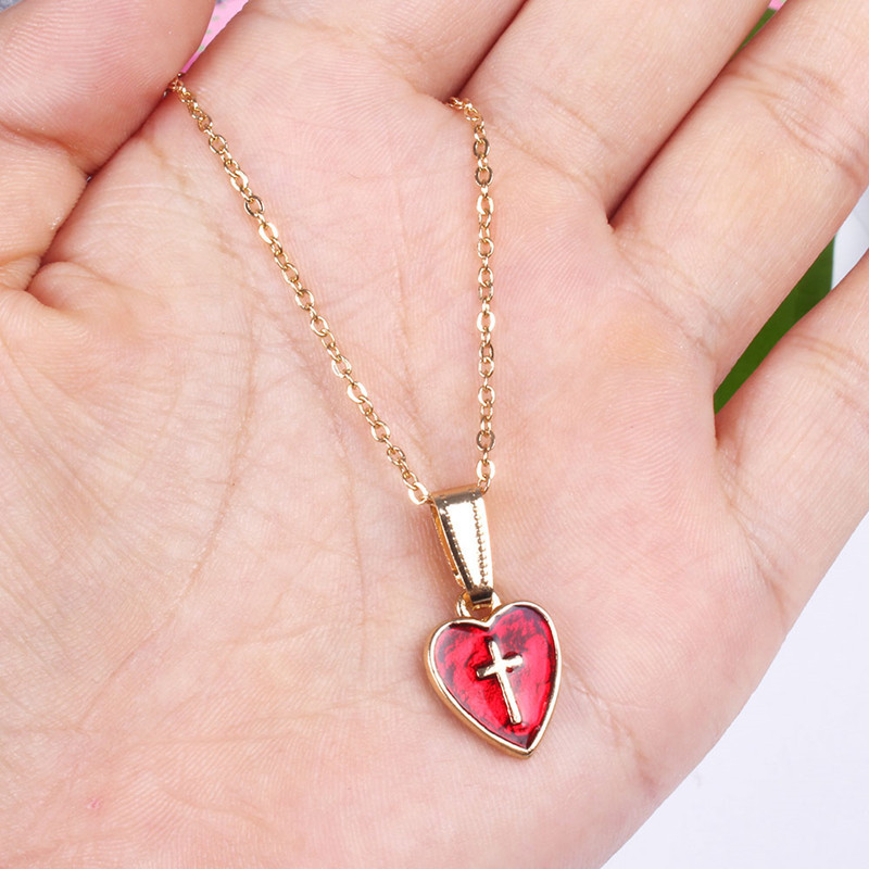 red love cross necklace