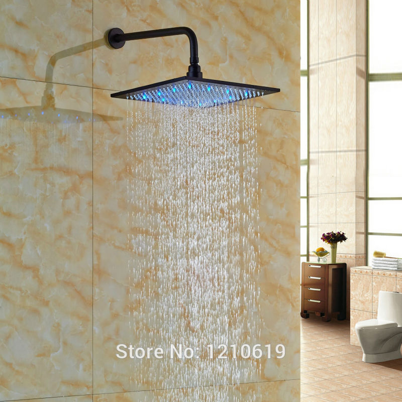 Newly Oil Rubbed Bronze 10 Top Shower Head w/ Wall Mounted Arm LED Lights Changing Shower Spray Head tin sign 20x30cm 12552 vintage license plate retro car speed poster