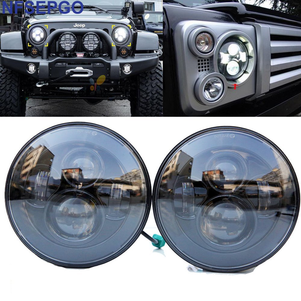 """7"""" Round LED Headlight For Jeep Wrangler 97 15 Hummer Toyota Defender 7 inch LED Projector Driving Lamp for Lada Niva JK CJ LJ-in Car Light Assembly from Automobiles & Motorcycles    1"""